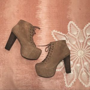 Jeffrey Campbell Litas Taupe Suede Size 11